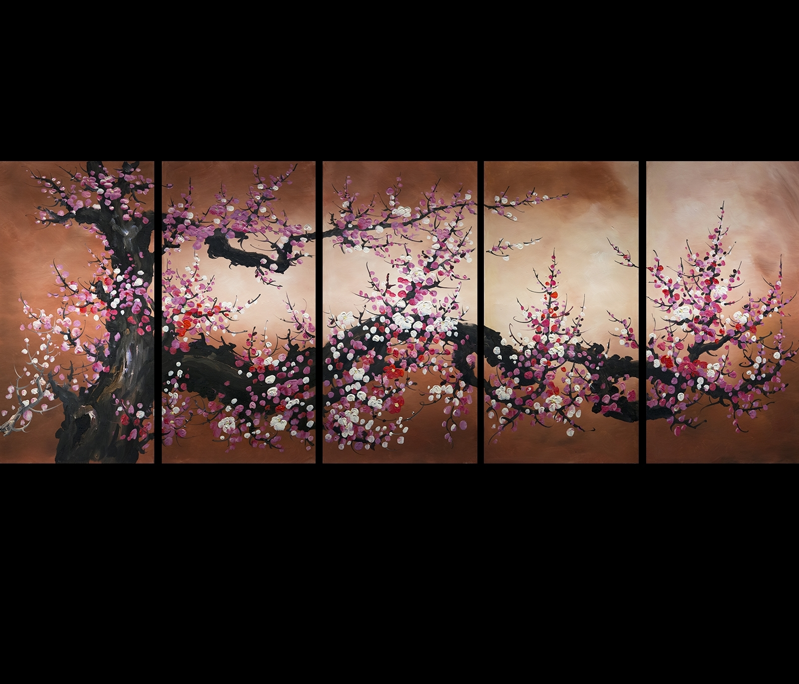 Abstract Cherry Blossom Wall Art Inside Most Up To Date Chinese Feng Shui Painting Cherry Blossom Painting Flower Painting (View 3 of 15)