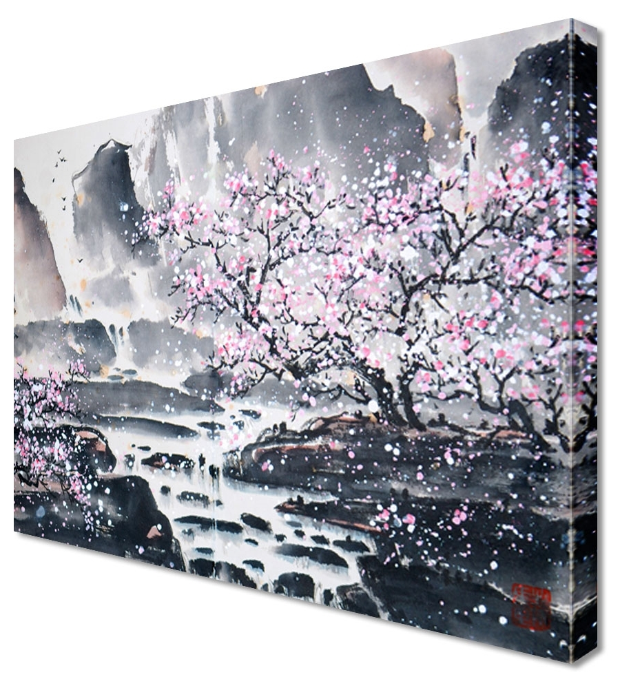 Abstract Cherry Blossom Wall Art Inside Trendy Large Abstract Japanese Painting Cherry Blossom Canvas Wall Art (View 4 of 15)