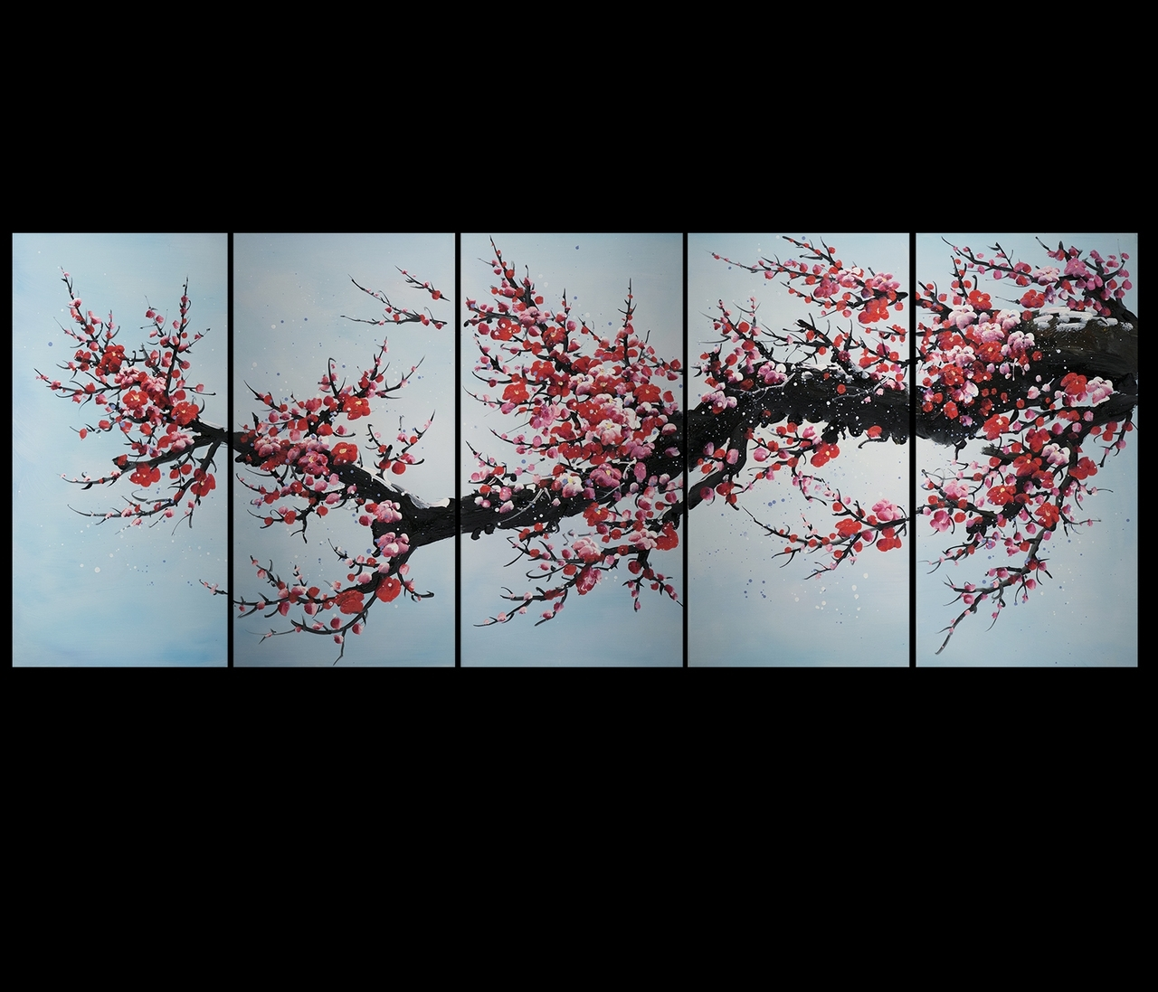 Abstract Cherry Blossom Wall Art Regarding Well Known Art Canvas Prints Wall Decor Abstract Art Contemporary Art Cherry (View 5 of 15)