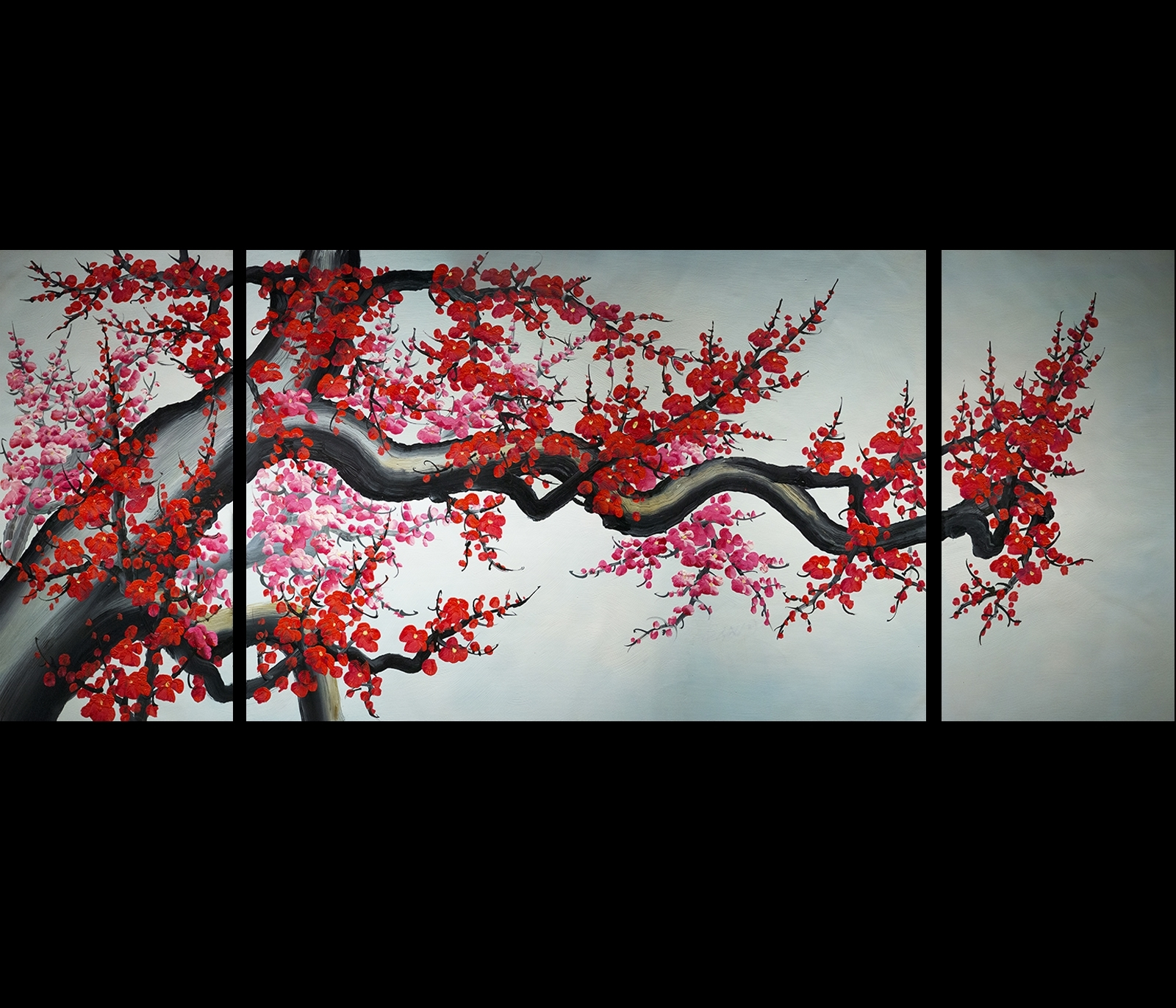 Abstract Cherry Blossom Wall Art Throughout Famous Wall Art Modern Abstract Painting Framed Cherry Blossom (View 6 of 15)