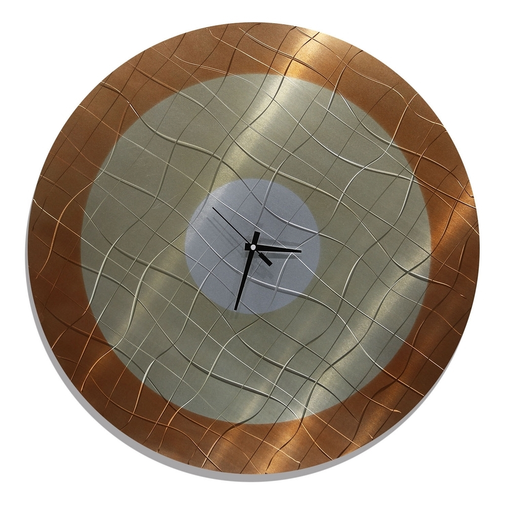 Abstract Clock Wall Art Intended For Newest Vibrations In Smoke – Functional Mid Century Modern Metal Wall Art (Gallery 15 of 15)
