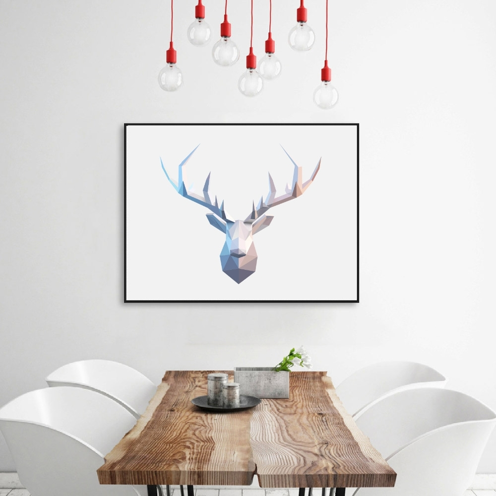 Abstract Deer Wall Art Inside Well Known Abstract Deer Head Wall Art Print Pictures , Geometric Polygonal (View 1 of 15)
