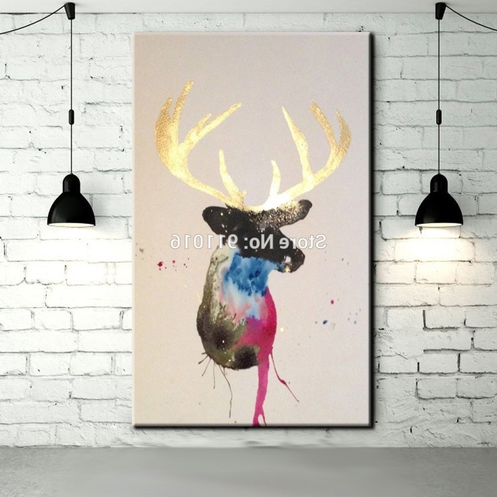 Abstract Deer Wall Art Pertaining To Most Recently Released Hand Painted Golden Horn Deer Paintings Wall Painting Picture On (View 2 of 15)