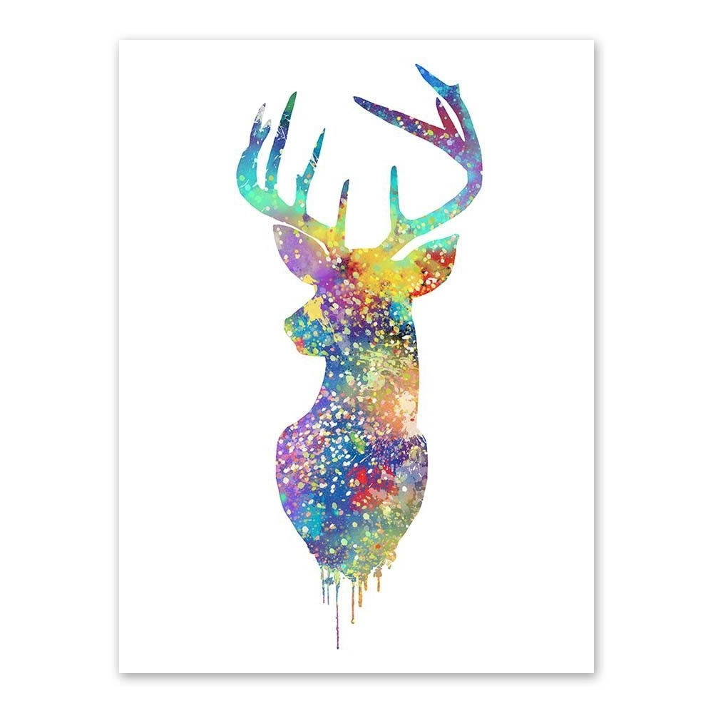 "Abstract Deer Wall Art With Regard To 2017 Watercolor Deer Head"" Canvas Wall Art (View 3 of 15)"