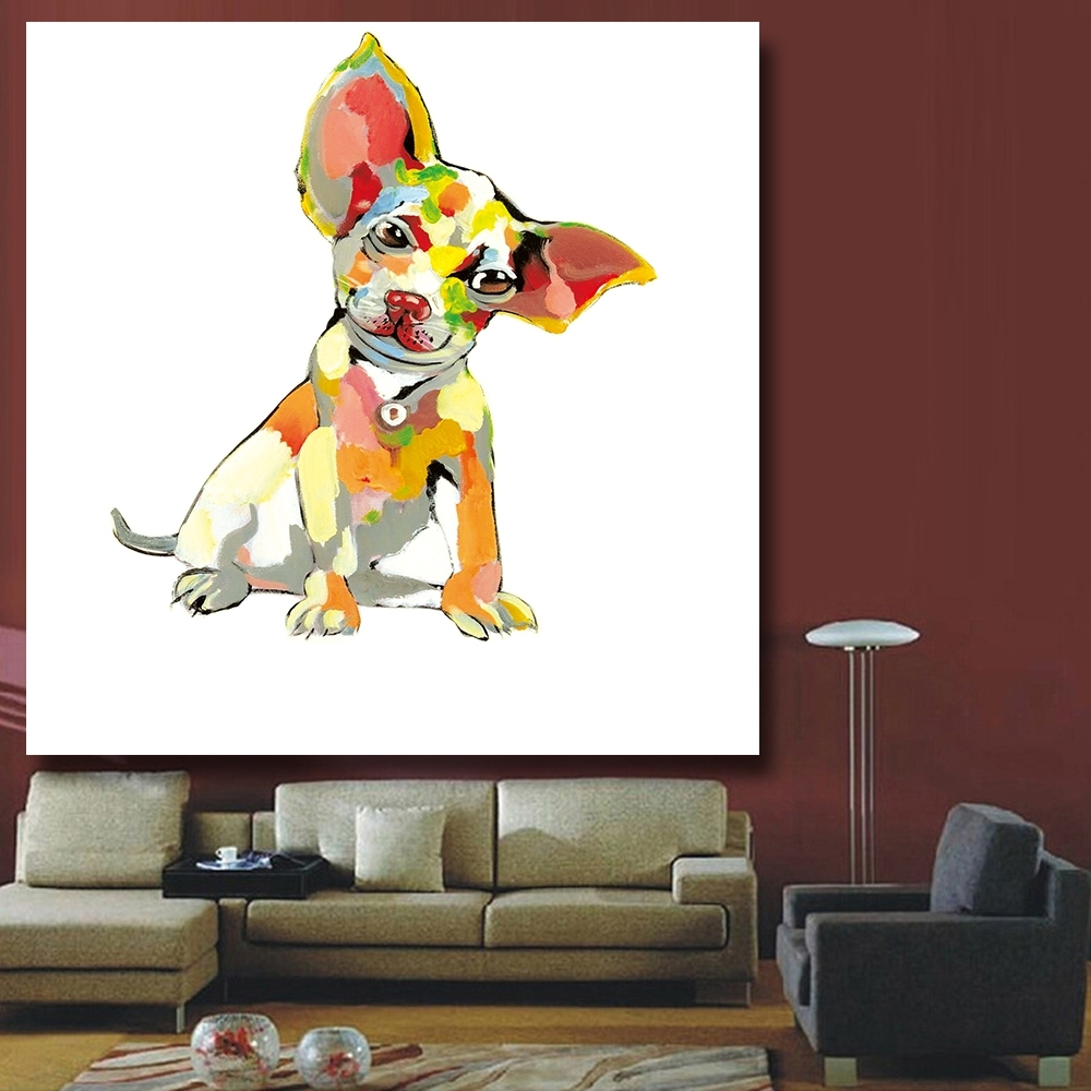 Abstract Dog Wall Art For Fashionable Chenfart Decorative Paintings Modern Canvas Oil Painting Abstract (View 2 of 15)