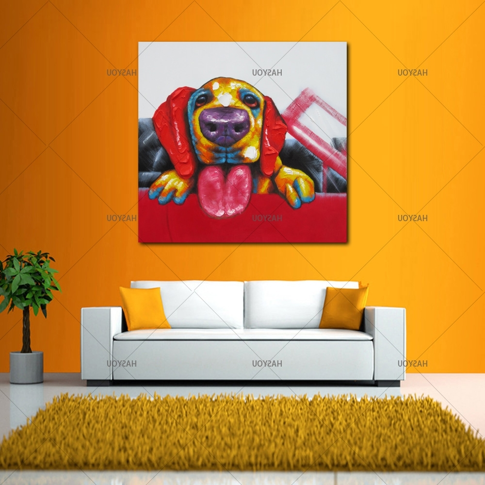 Abstract Dog Wall Art Intended For Fashionable Wall Art For Large Fashion Painting Canvas Animal Picture Abstract (View 3 of 15)