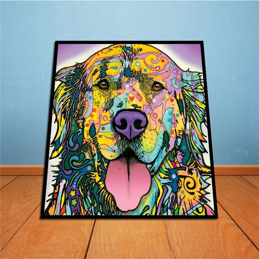 Abstract Dog Wall Art Throughout Best And Newest On Canvas Golden Retriever Unframed Room Decor Modern Huge Wall (View 6 of 15)