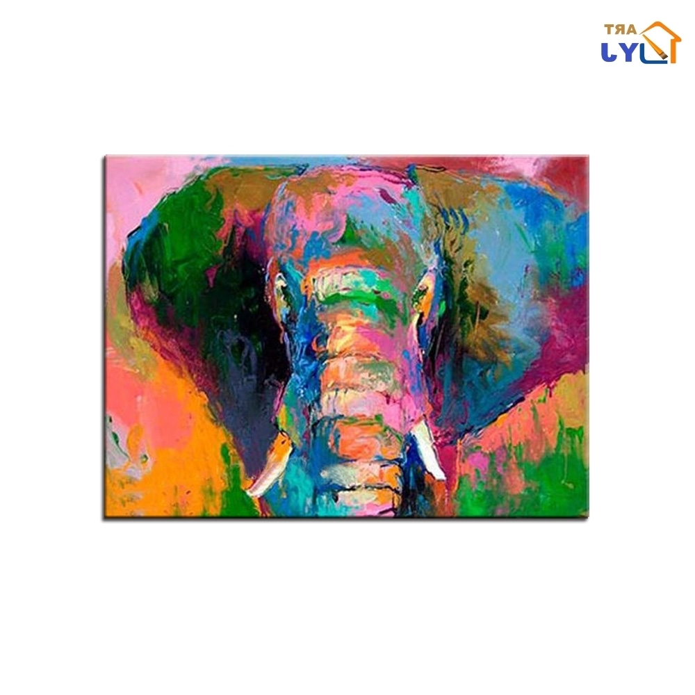 Abstract Elephant Wall Art With Regard To 2017 Mix Color Elephant Pic Wall Art Hand Painted Modern Abstract Oil (View 6 of 15)