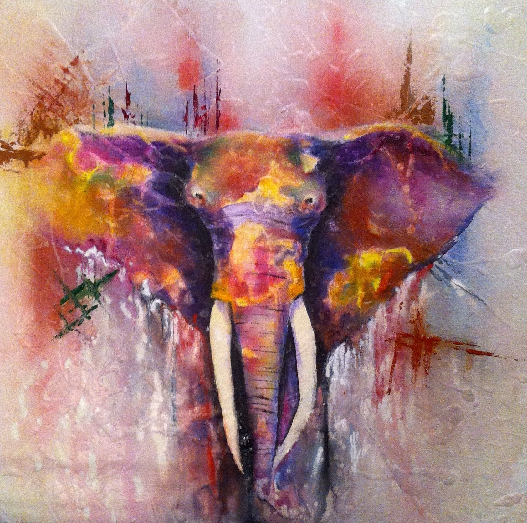 Abstract Elephant Wall Art Within Recent Wall Art Designs: Elephant Canvas Wall Art Abstract Elephant (View 7 of 15)