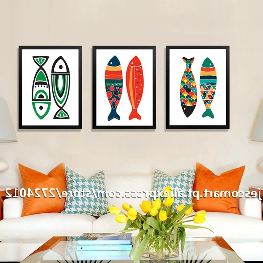 Abstract Fish Wall Art In 2017 Home Decor Canvas Painting Abstract Style Colourful Fish Wall Art (View 8 of 15)