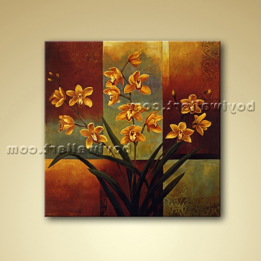 Abstract Floral Painting Oil Canvas Wall Art Orchid Flower Intended For Newest Abstract Floral Canvas Wall Art (Gallery 4 of 15)
