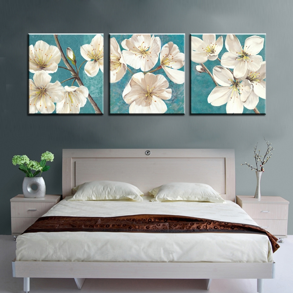 Abstract Flower Wall Art Within Recent 3 Piece Decorative Picture Panels Prints Abstract Canvas Wall Art (View 6 of 15)