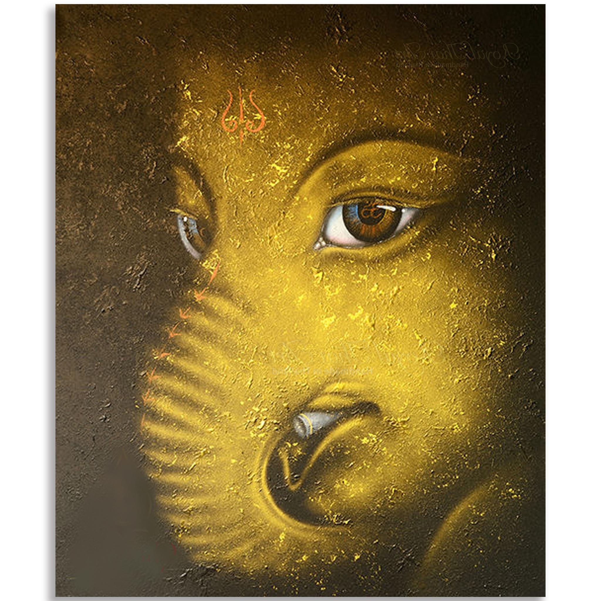 Abstract Ganesha Wall Art Pertaining To Favorite Contemporary Ganesha Painting L Acrylic Gold Leaf On Canvas Thai Art (View 3 of 15)