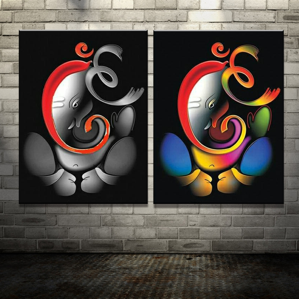 Abstract Ganesha Wall Art Throughout Well Known 100 Hand Painted Om Font B Ganesha B Font Ganpati Oil Font B (View 6 of 15)