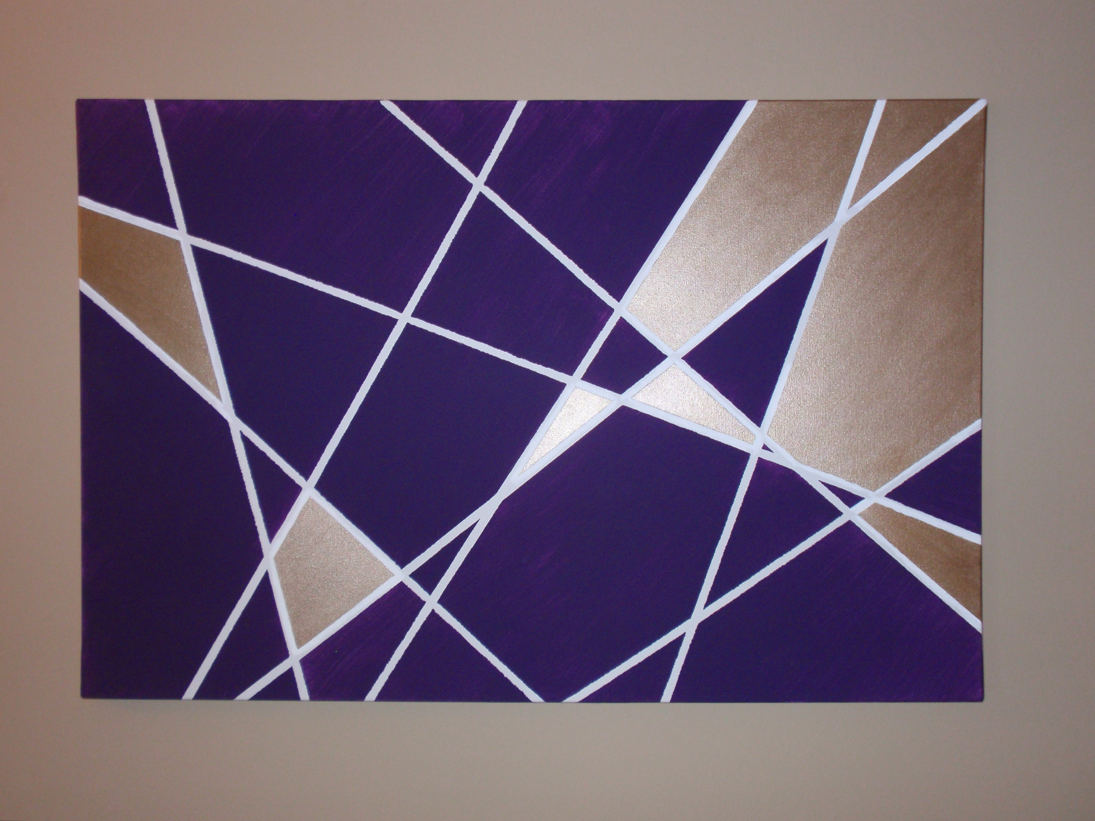 Abstract Geometric Metal Wall Art With Regard To Trendy Wall Art Ideas Design : Purple Rectangle Geometric Wall Art Home (View 8 of 15)