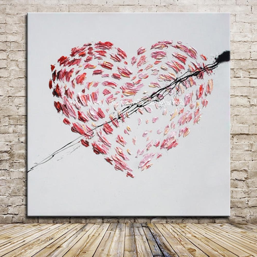 Abstract Heart Wall Art Throughout Most Current Hand Painted Cartoon Oil Painting On Canvas Modern Abstract Heart (Gallery 12 of 15)