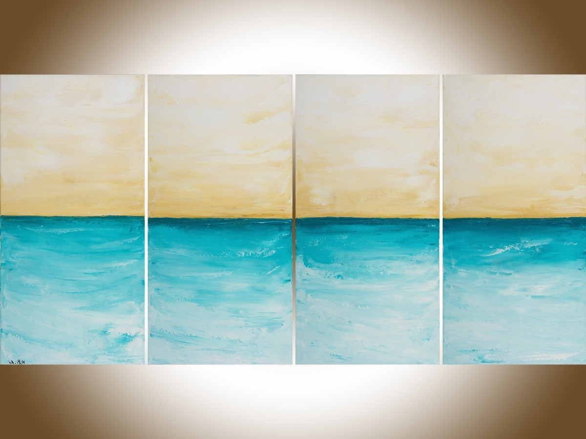 "Abstract Horizon Wall Art Pertaining To Preferred Horizonqiqigallery 48"" X 24"" Abstract Seascape Painting (Gallery 9 of 15)"