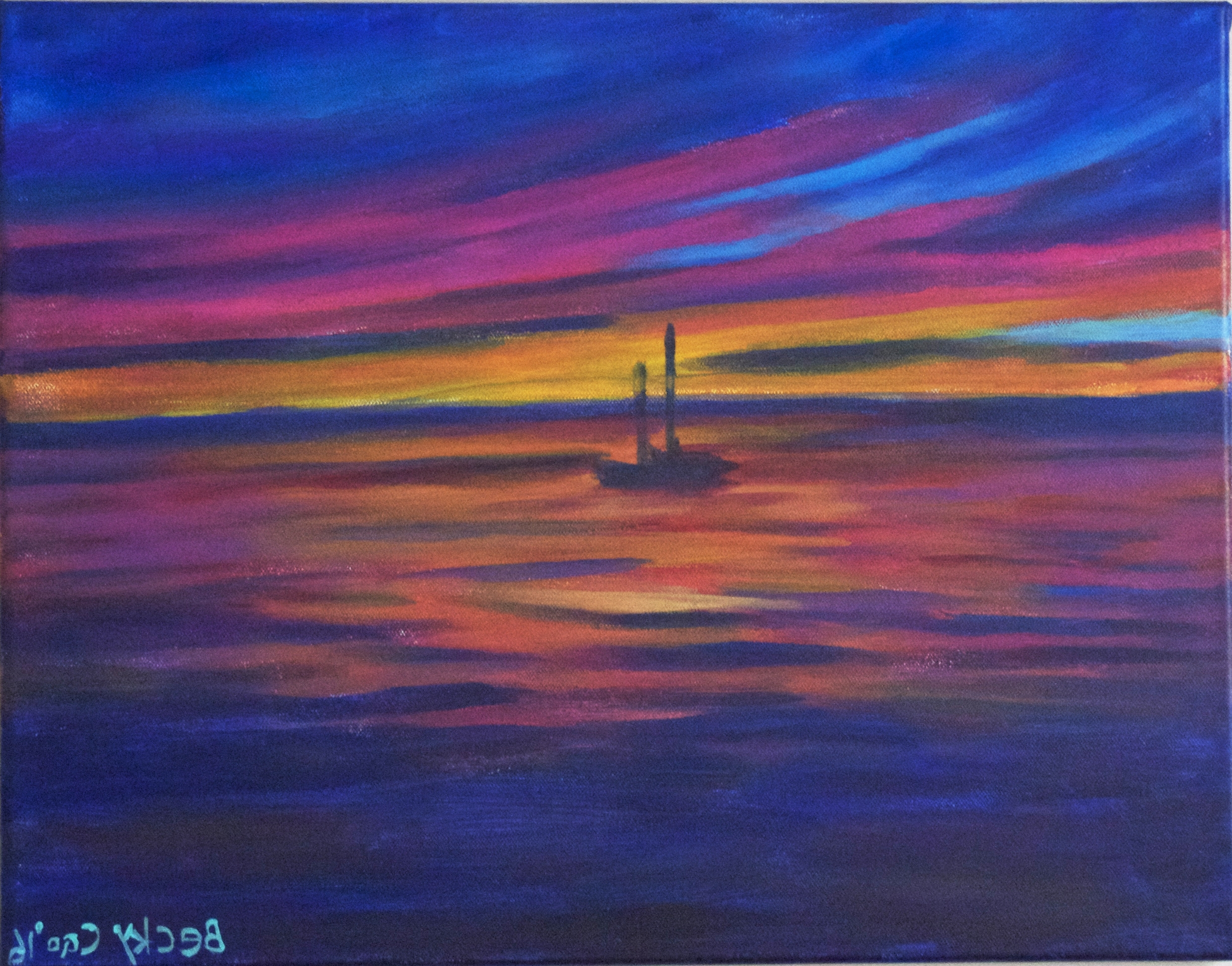 """Abstract Horizon Wall Art Within Most Up To Date Blue Red Sail Boat Painting  Ocean Wall Décor  16""""20"""" Acrylic (View 5 of 15)"""