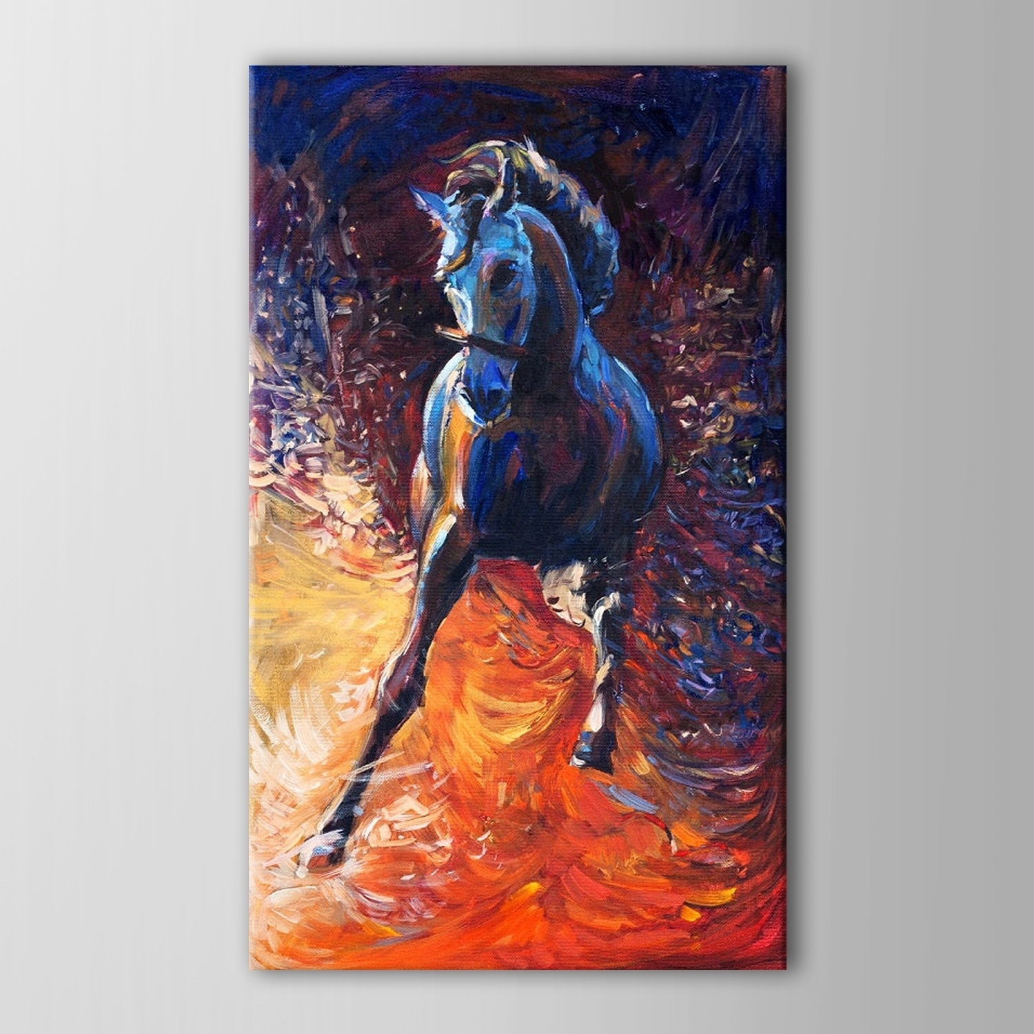 Abstract Horse Wall Art For 2017 Hand Painted Beautiful Abstract Running Black Horse Oil Painting (Gallery 12 of 15)