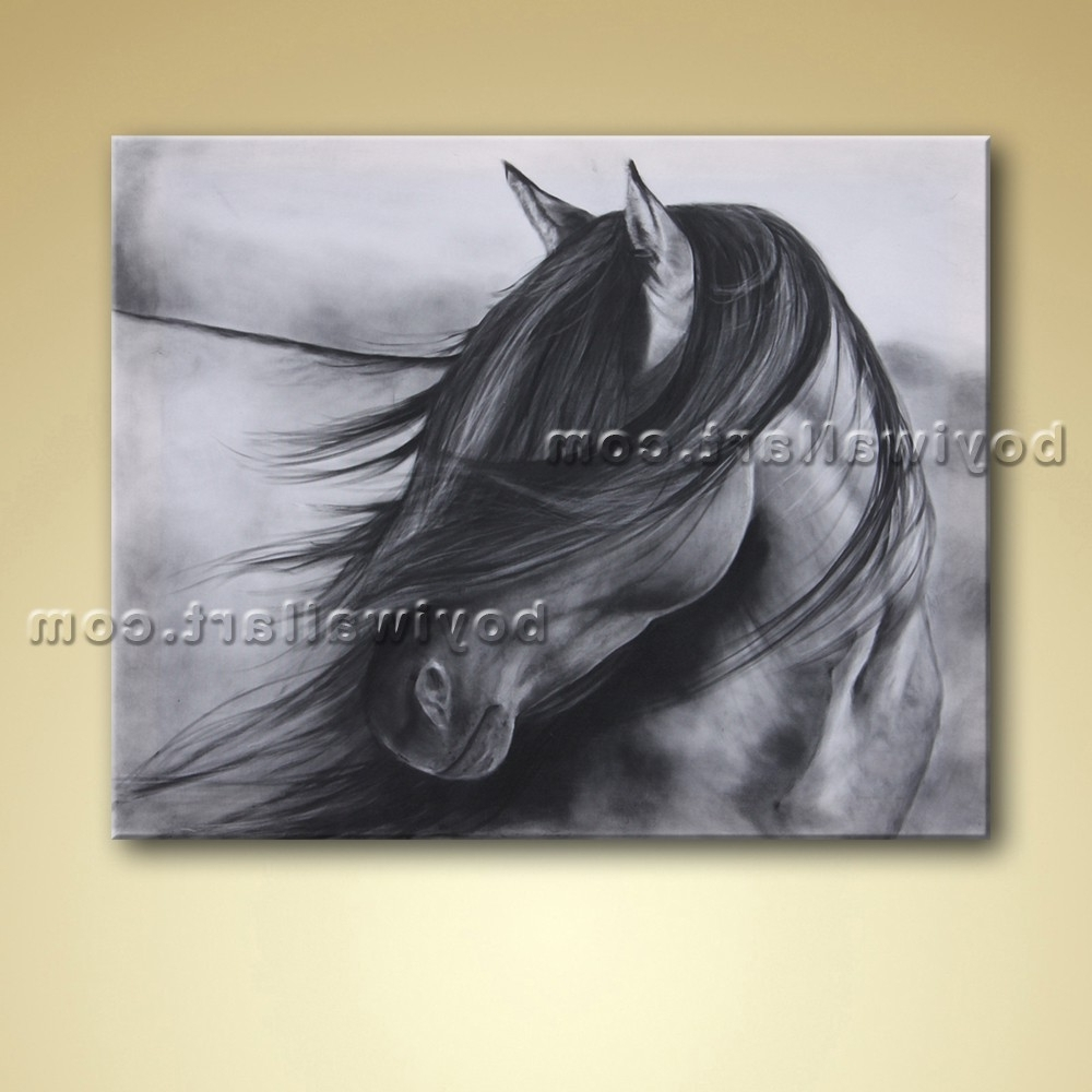 Abstract Horse Wall Art Pertaining To Latest Abstract Wall Art Black And White Horse Painting Oil Picture (View 7 of 15)