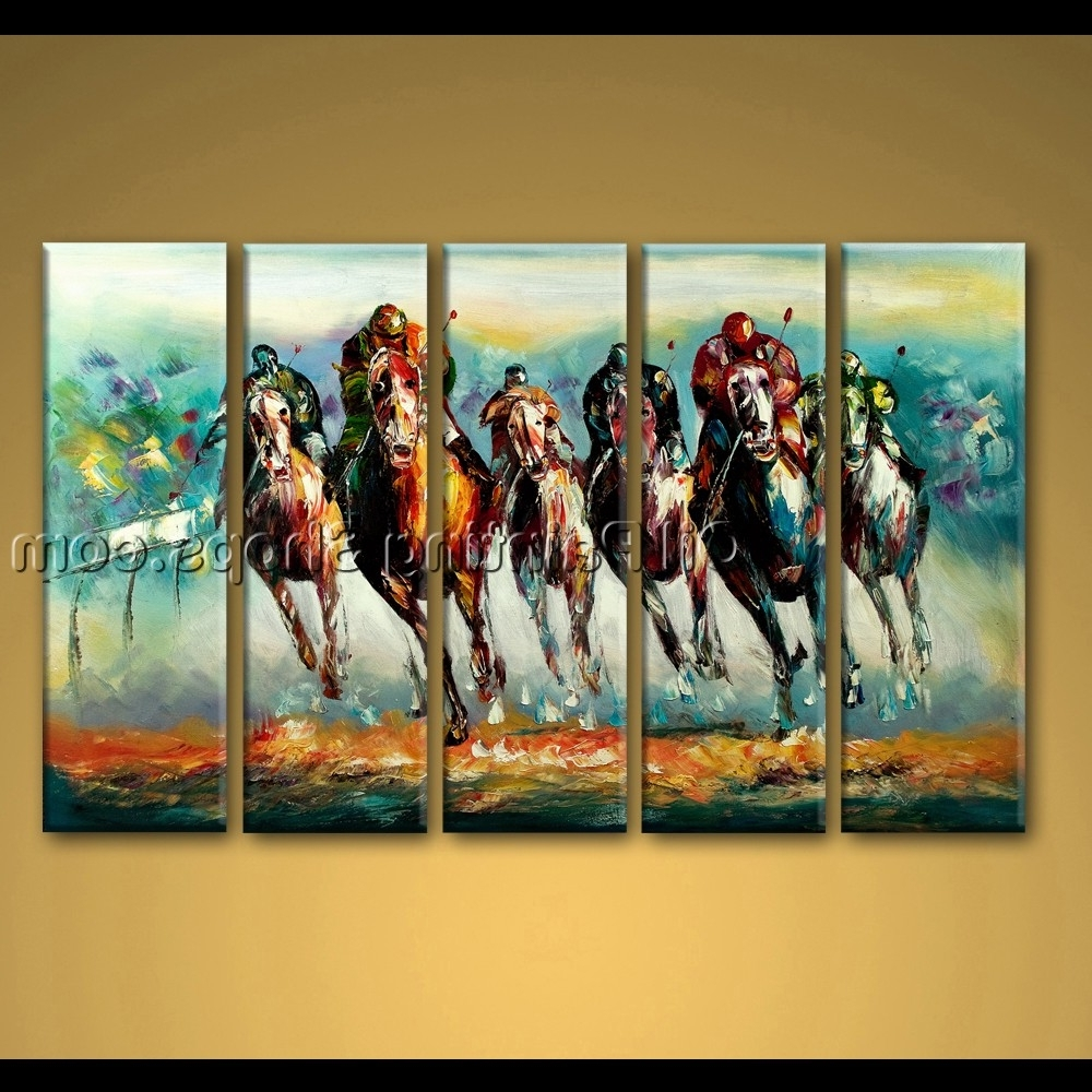 Abstract Horse Wall Art Within Fashionable Painted Oil Painting On Canvas Abstract Horse Racing Wall Art Modern (View 8 of 15)
