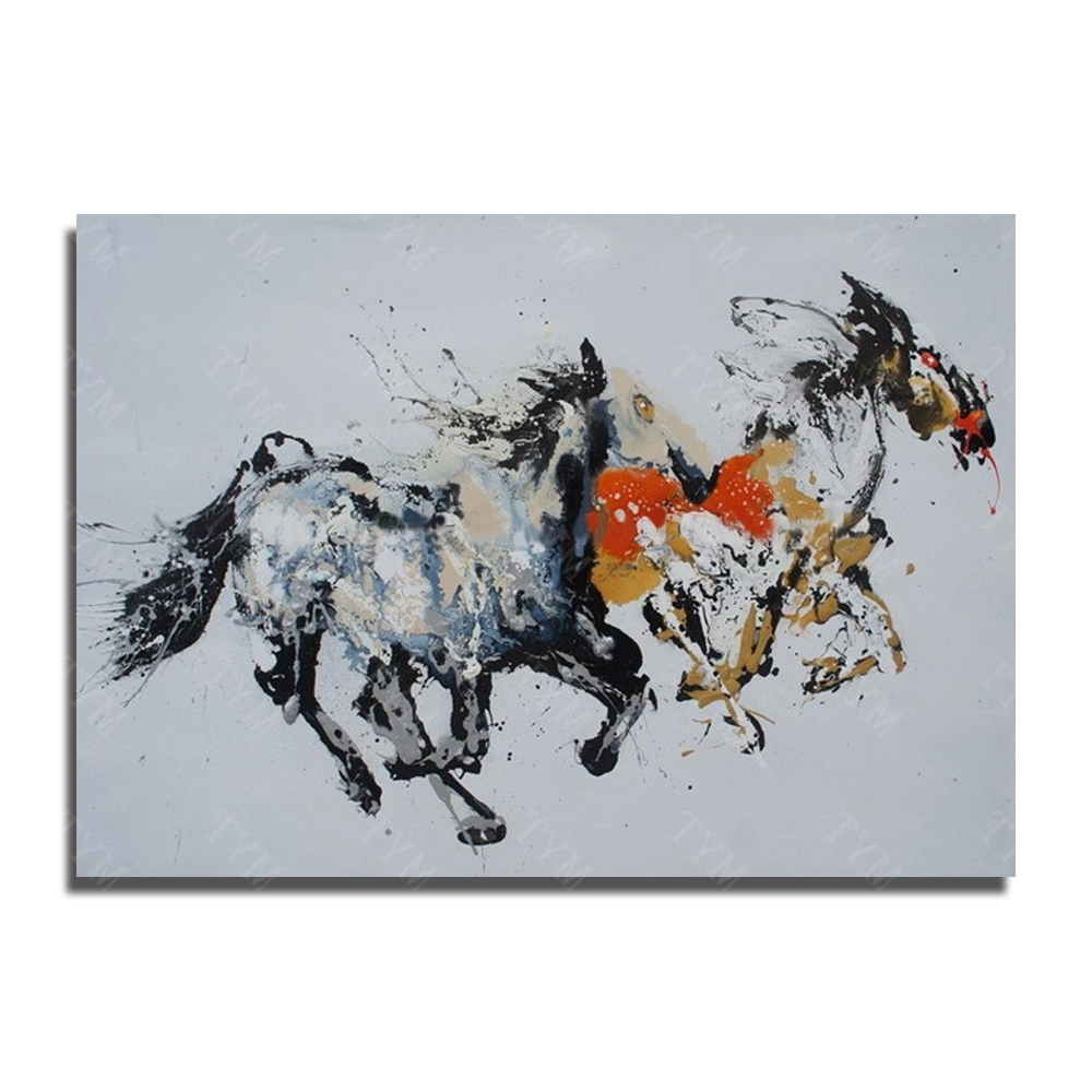 Abstract Horse Wall Art Within Well Liked Abstract Running Horse Hand Painted Oil Painting Modern For Home (View 9 of 15)