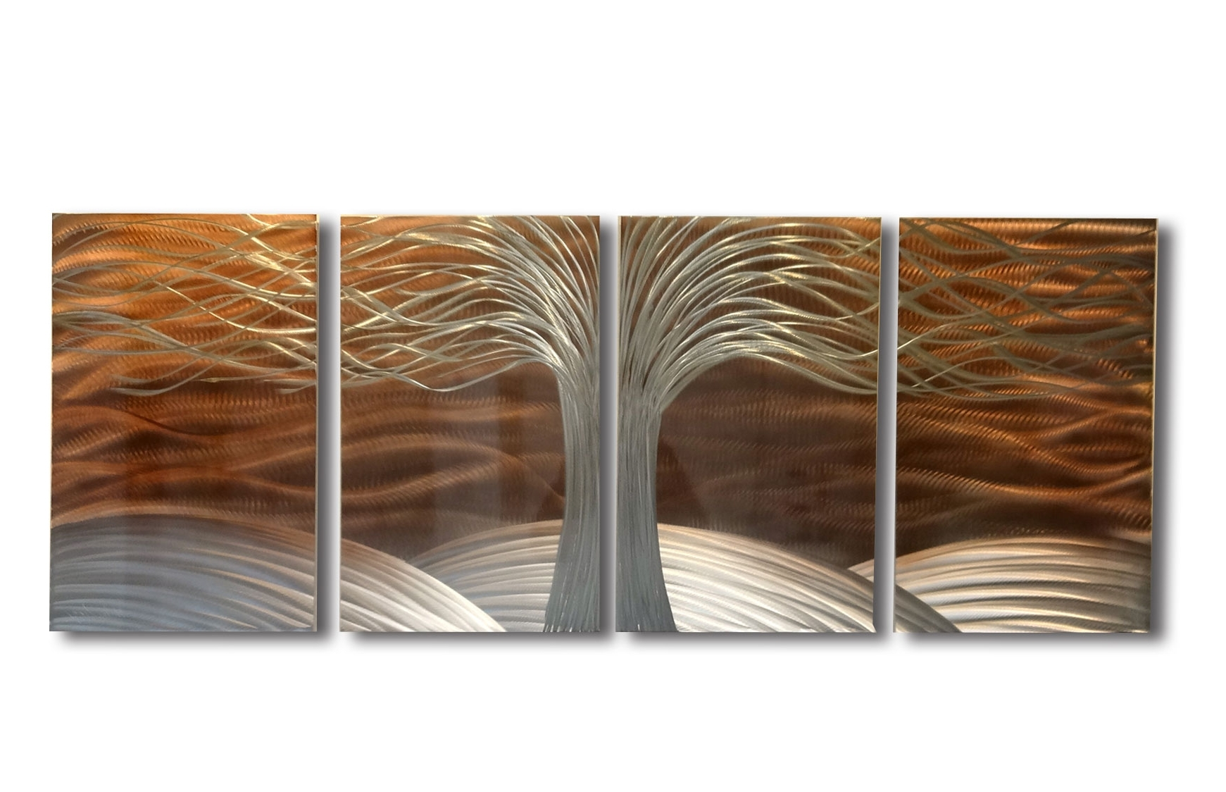 Abstract Leaf Metal Wall Art For Famous Tree Of Life Burnt Copper  Metal Wall Art Abstract Contemporary (Gallery 9 of 15)