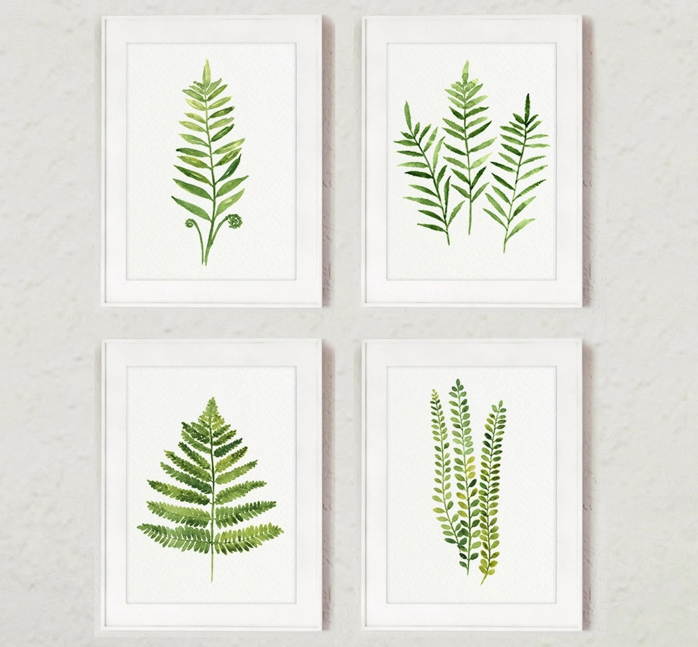 Abstract Leaves Wall Art For Preferred Fern Painting Green Abstract Leaf Watercolor Print Set Of 4 Leaves (Gallery 12 of 15)