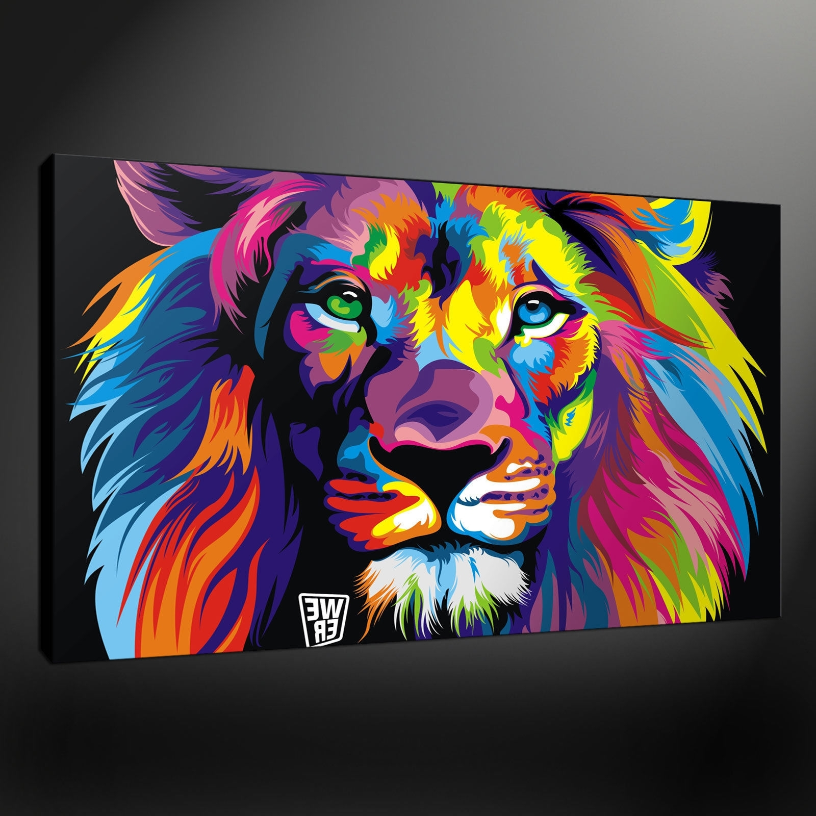 Abstract Lion Quality Canvas Print Picture Wall Art Design Free Uk With Regard To 2018 Animal Canvas Wall Art (View 3 of 15)