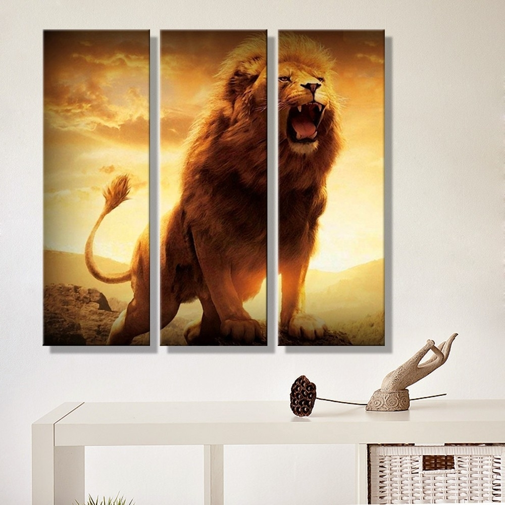 Abstract Lion Wall Art Intended For 2018 Canvas Painting Abstract Lion Sunset Landscape Wall Art Decoration (View 4 of 15)