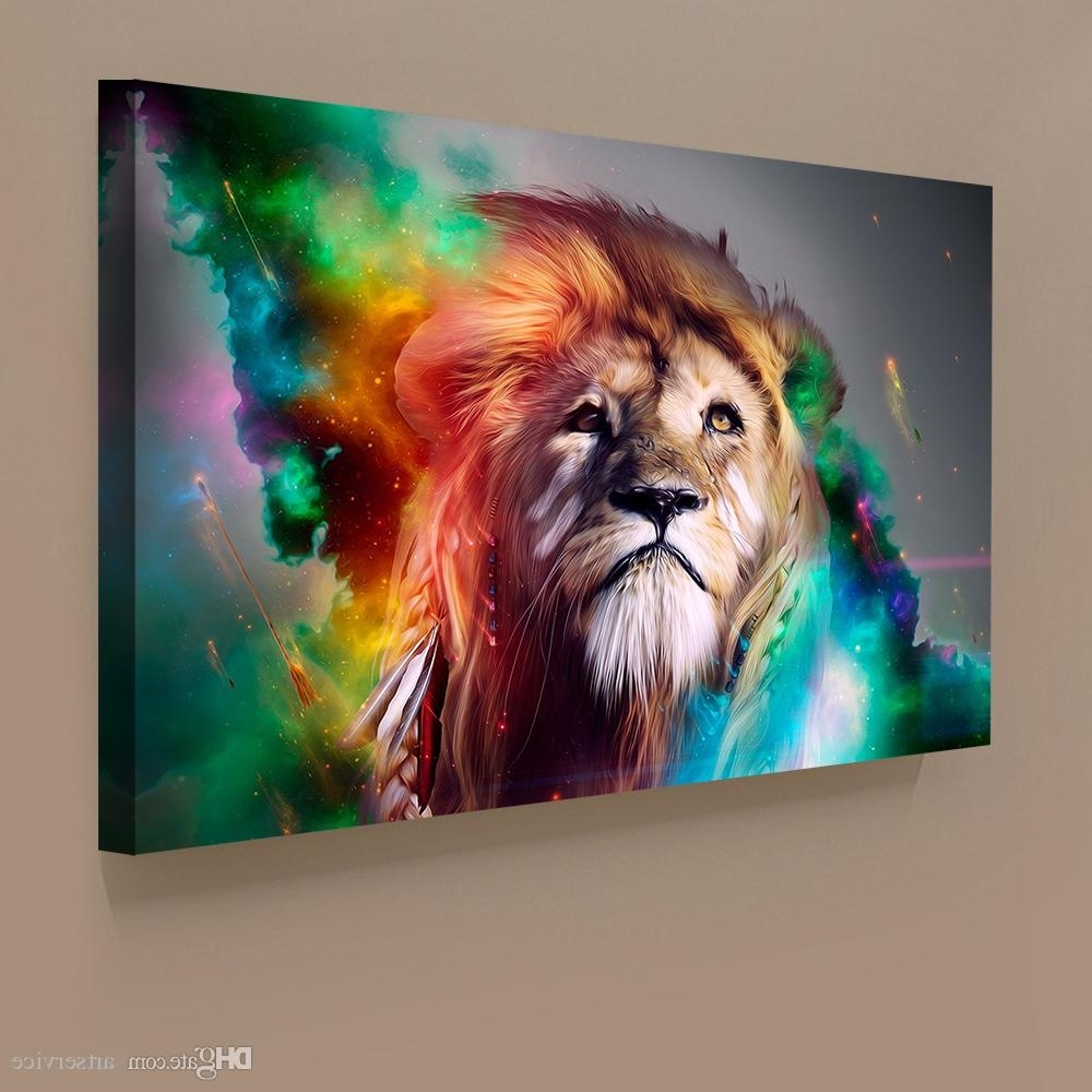 Abstract Lion Wall Art Regarding Current 2018 1 Panels Abstract Lion Colorful Painting Home Decor Wall Art (Gallery 3 of 15)