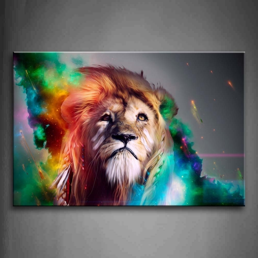 Abstract Lion Wall Art Within Famous Amazon: Colorful Lion Artistic Wall Art Painting The Picture (View 6 of 15)