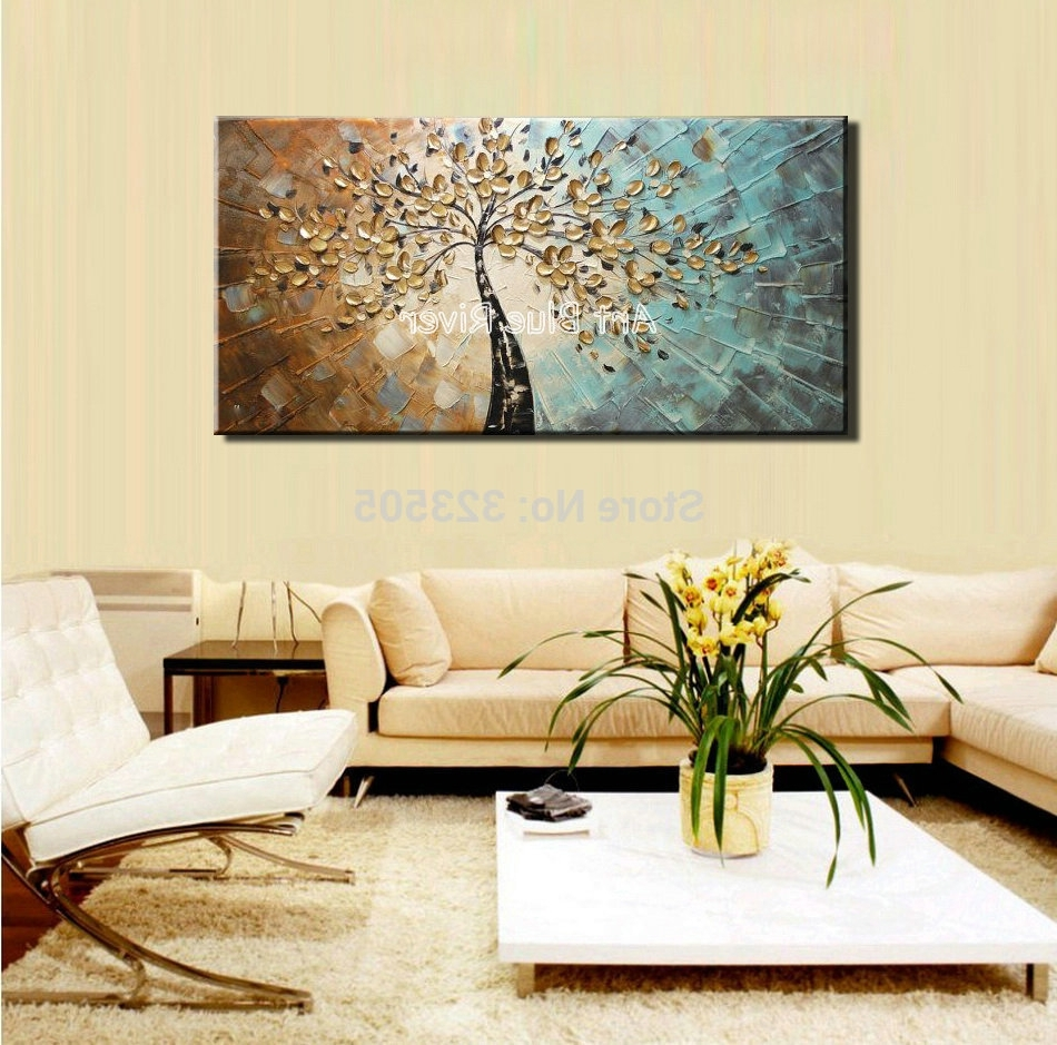 Abstract Living Room Wall Art In Preferred Large Abstract Canvas Wall Art Decorative Acrylic Flower Tree (View 3 of 15)