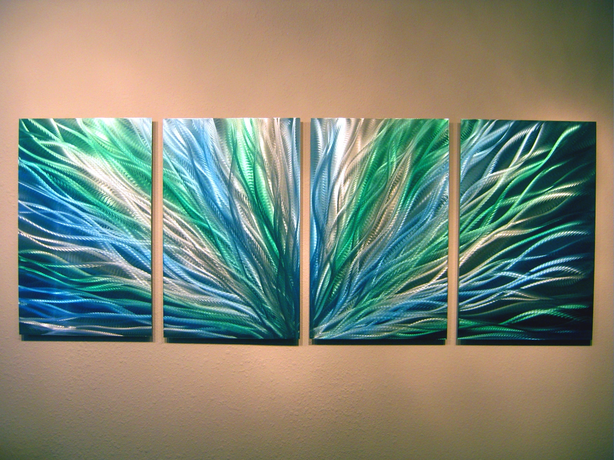 Abstract Metal Wall Art Painting Regarding Preferred Radiance Blue Green Abstract Metal Wall Art Contemporary Modern (View 14 of 15)