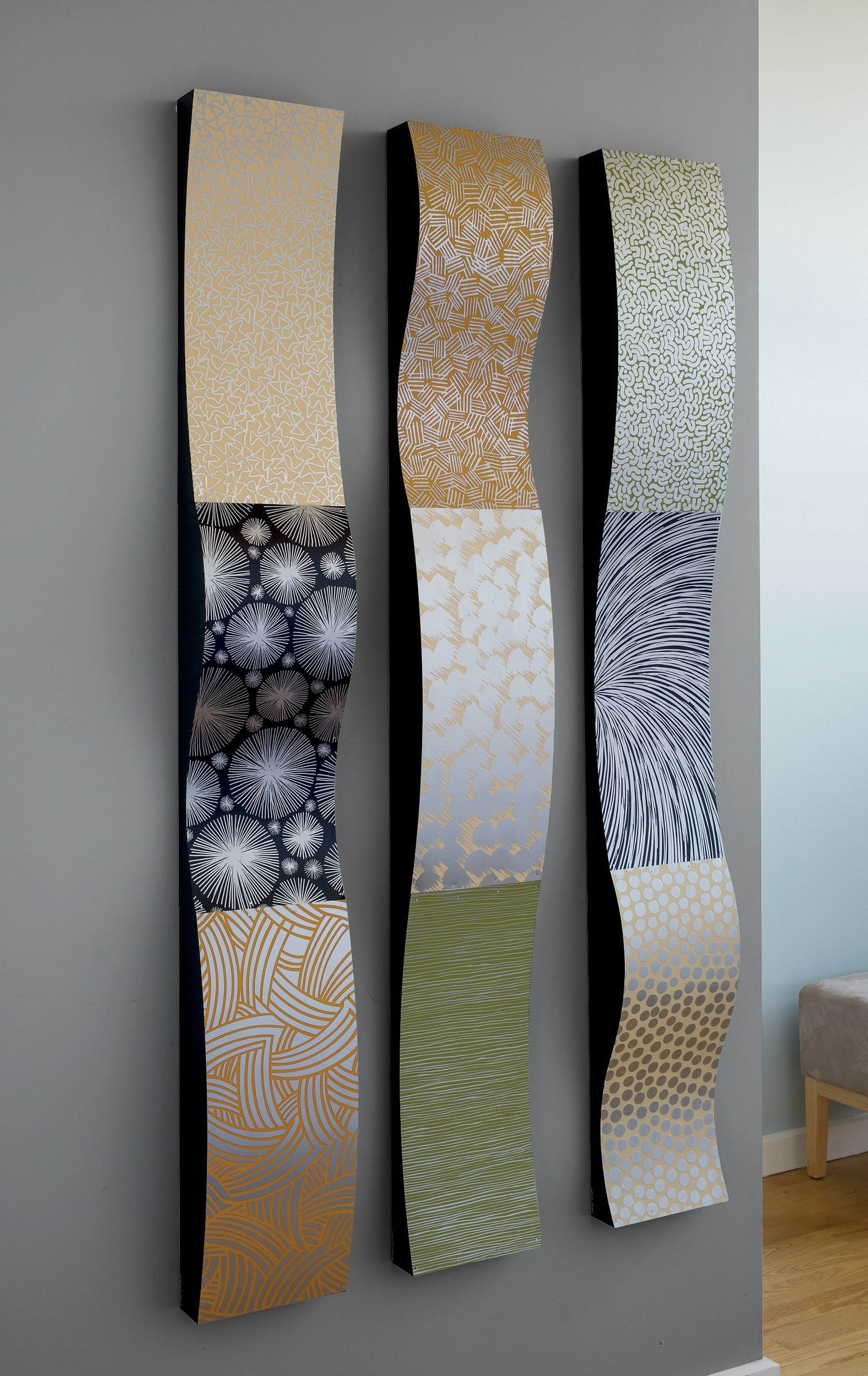 Abstract Metal Wall Art Sculptures Intended For Preferred Stainless Steel Wall Ribbonslinda Leviton (metal Wall (View 4 of 15)