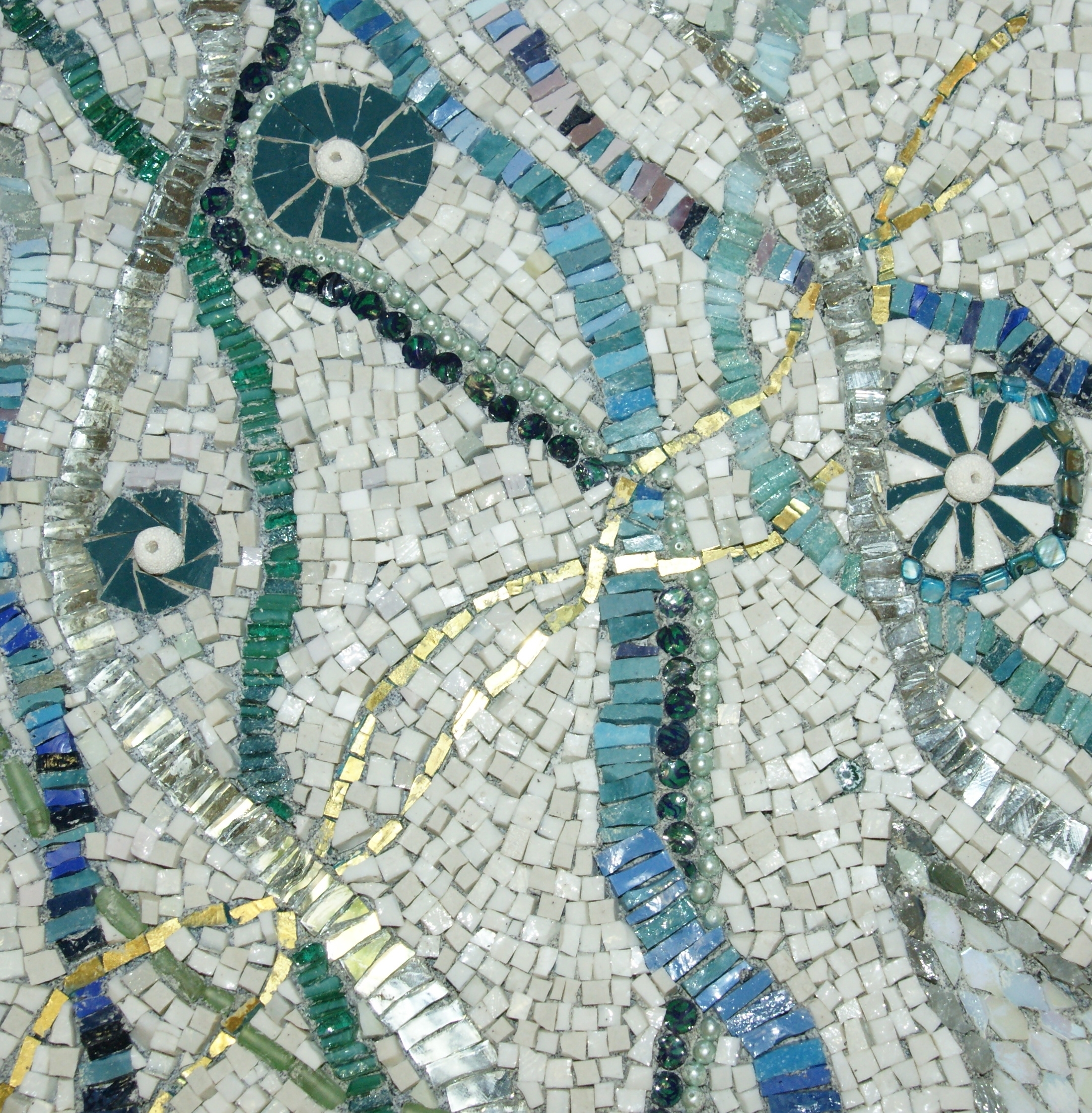 "Abstract Mosaic Art On Wall Inside Preferred Abstract Mosaic Art ""winding"". Smalti, Mirror,gold, Stones. (Gallery 8 of 15)"