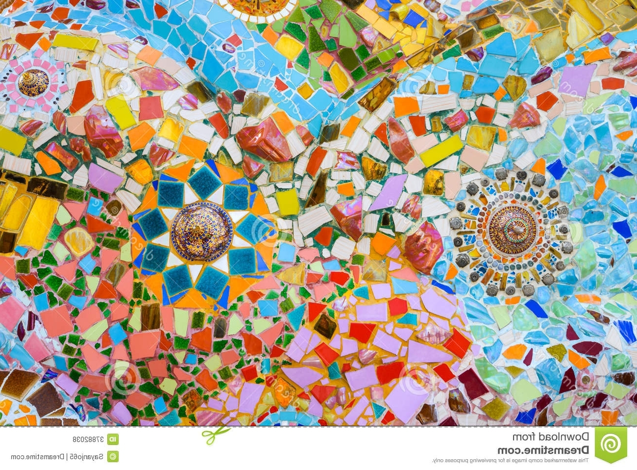 Abstract Mosaic Art On Wall Throughout Well Known Colorful Mosaic Art And Abstract Wall Background. Stock Photo (Gallery 12 of 15)