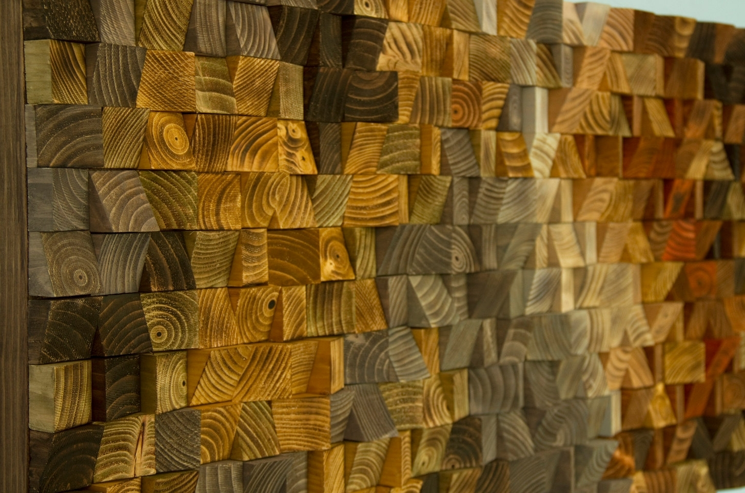 Abstract Mosaic Wall Art Pertaining To 2017 Rustic Wood Wall Art, Wood Wall Sculpture, Abstract Wood Art Mosaic (View 4 of 15)
