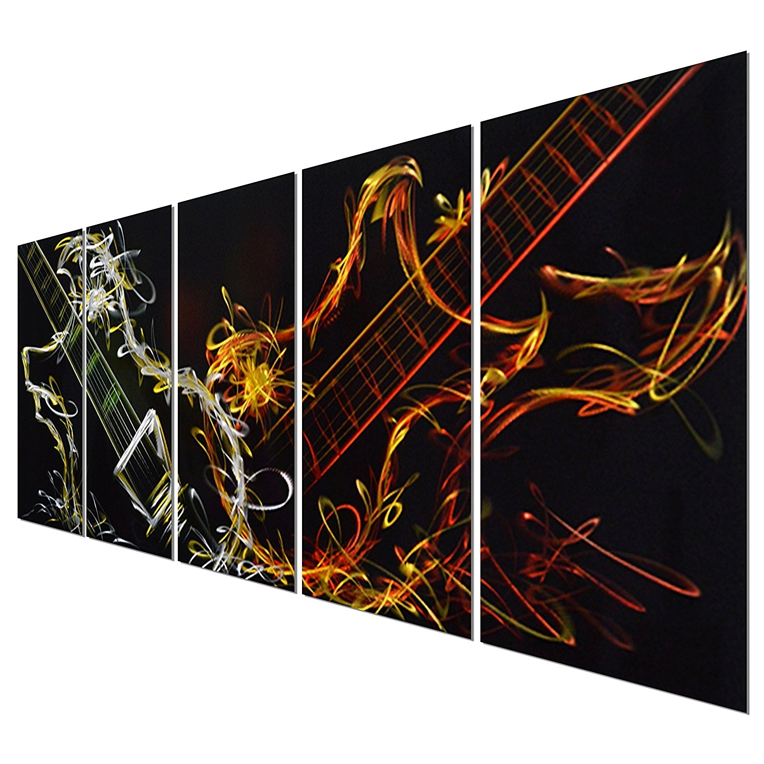 Abstract Music Wall Art In 2018 Amazon: Pure Art Abstract Guitar Heat – Large Music Metal Wall (View 3 of 15)