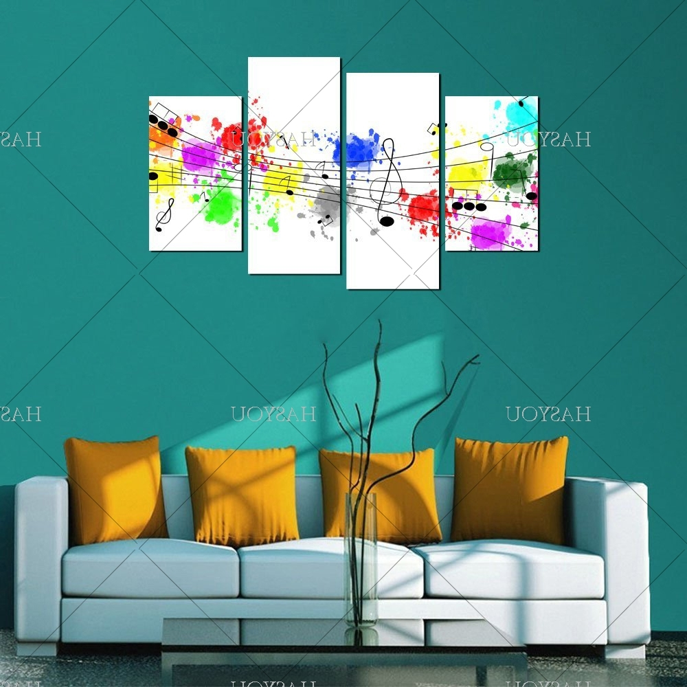 Abstract Music Wall Art With Regard To Most Up To Date 4 Pieces Still Life Pictures Handpainted Canvas Abstract Music (View 5 of 15)