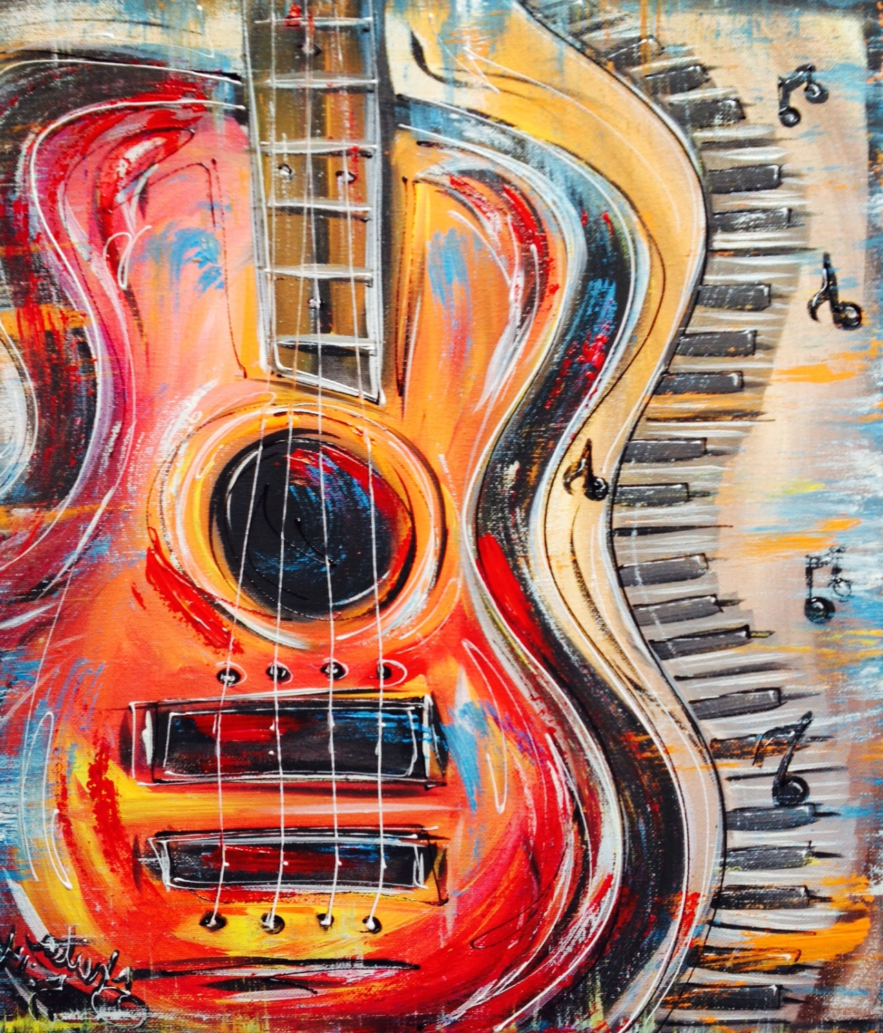 Abstract Musical Notes Piano Jazz Wall Artwork In Most Recent Funky Abstract, Colorful Guitar And Keyboard, With Music Notes (View 3 of 15)