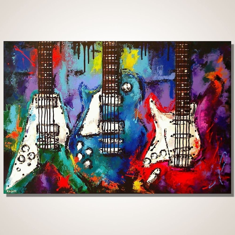 Abstract Musical Notes Piano Jazz Wall Artwork Inside Most Current Guitar Painting On Canvas, Les Paul, Flying V, Strat, Original (View 2 of 15)