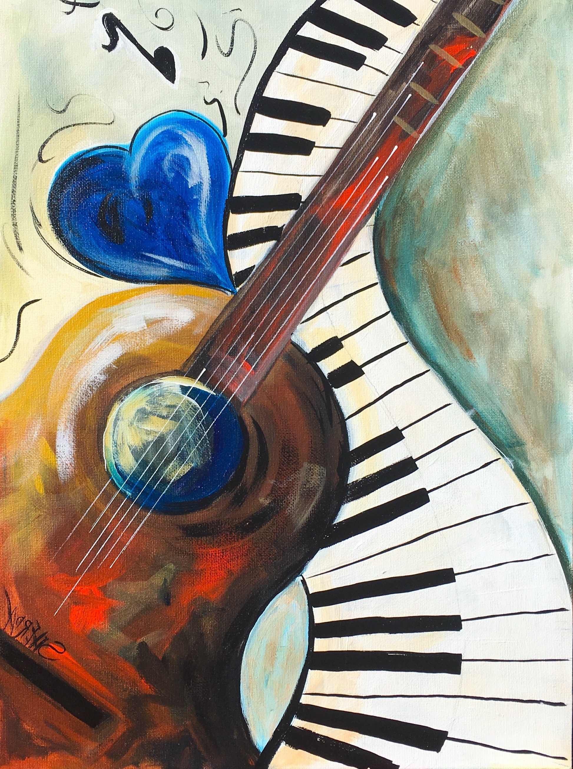 Abstract Musical Notes Piano Jazz Wall Artwork Inside Trendy Abstract Music Acrylic Painting On Canvas With Heart Guitar And (View 6 of 15)