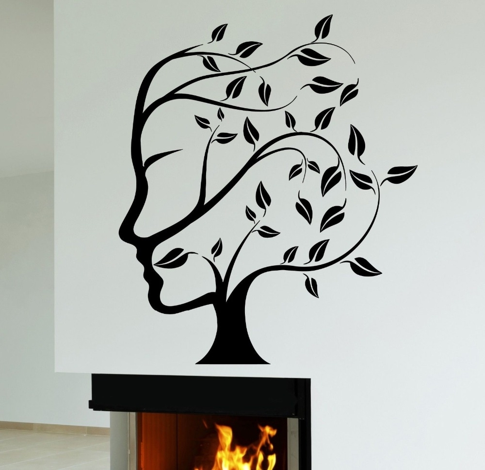 Abstract Nature Tree Woman Face Wall Sticker Creative Art Design With Regard To Newest Abstract Art Wall Decal (View 6 of 15)