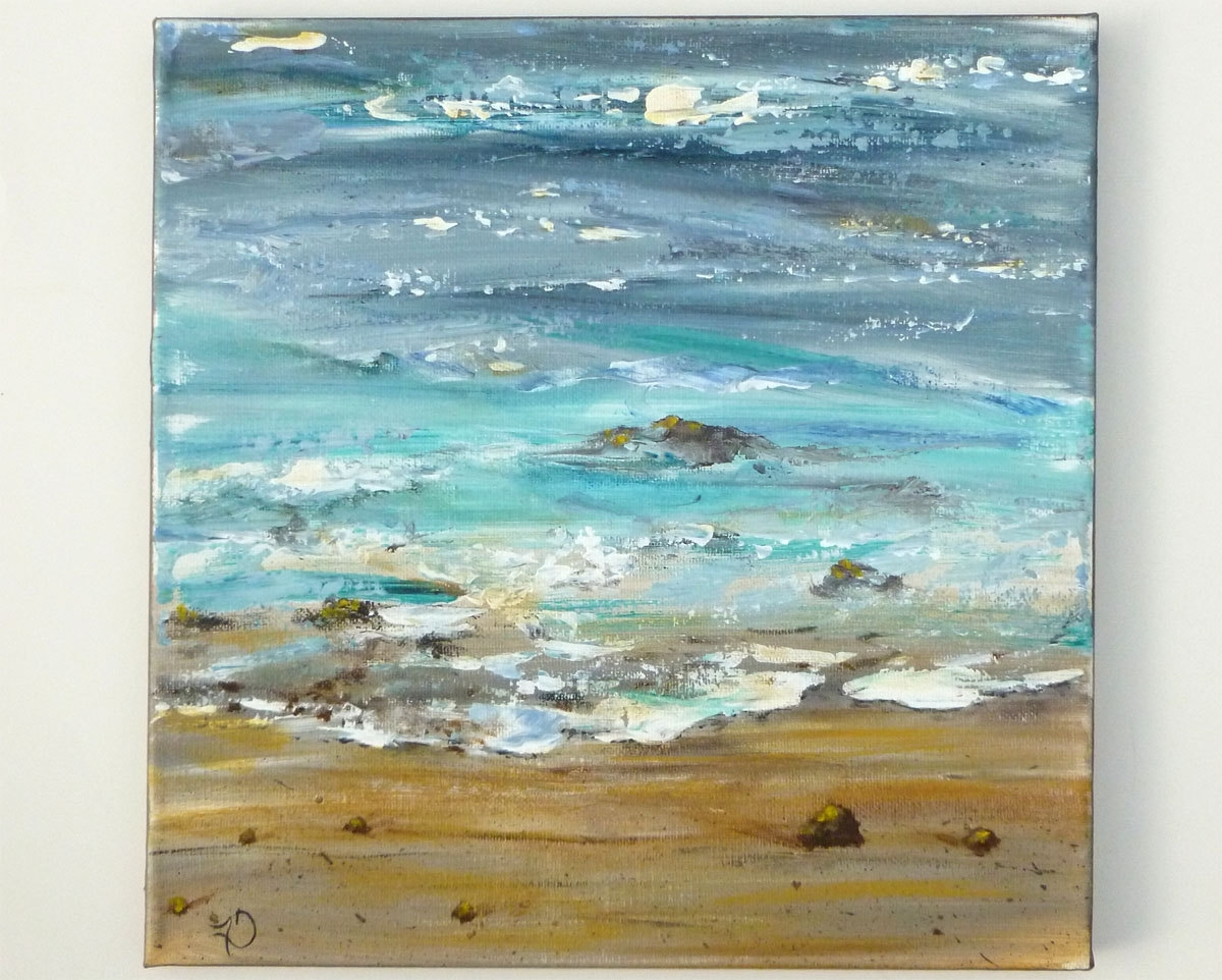 Abstract Ocean Wall Art Regarding Favorite Ocean Painting, Textured Abstract Beach Modern Art, Square 12x (View 11 of 15)