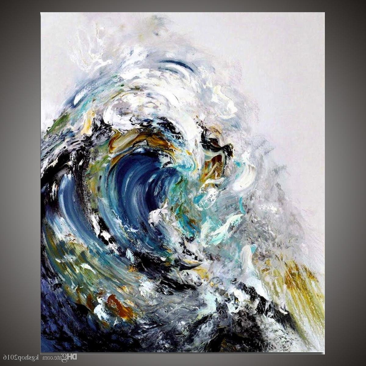 Abstract Ocean Wall Art Throughout Latest 2018 Kgtech Rolling Ocean Waves Art Blue Sea Waters Painting (View 7 of 15)