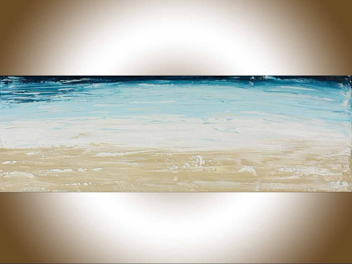 "Abstract Ocean Wall Art Throughout Well Known Abstract #101qiqigallery 36"" X 12"" Abstract Landscape Painting (View 13 of 15)"