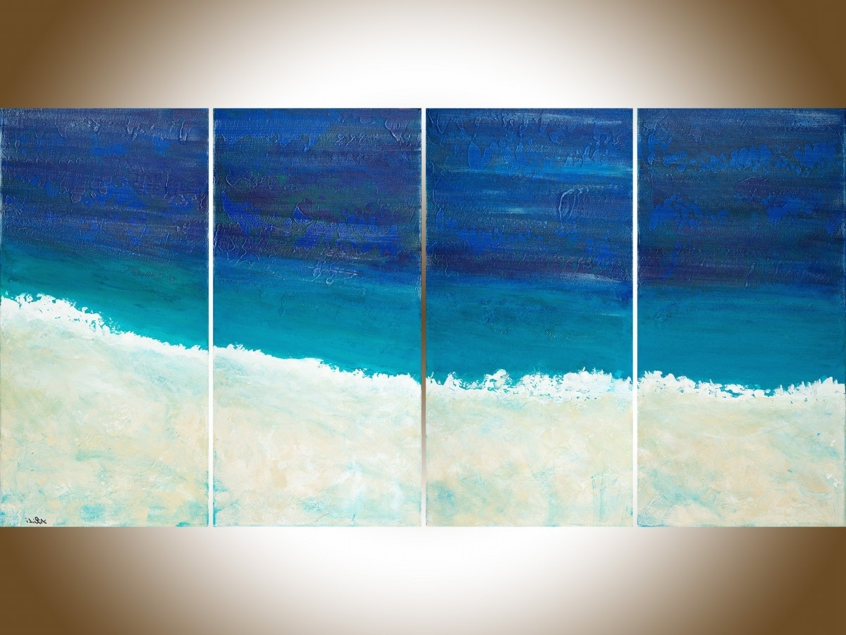 "Abstract Ocean Wall Art With Regard To Preferred Reach The Shoreqiqigallery 48""x24"" Original Large Blue (View 8 of 15)"