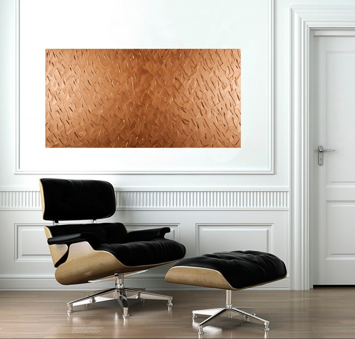 "Abstract Office Wall Art For 2018 Abstract Copper Texture Paintingqiqigallery 48""x24"" Original (View 2 of 15)"