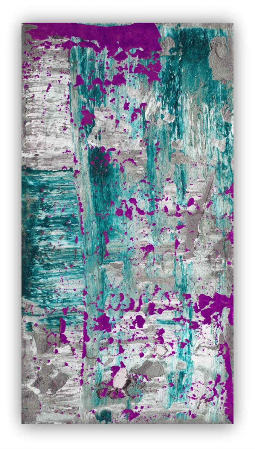 Abstract Painting Large Wall Art Canvas Art Purple Plum Grey Gray Pertaining To Preferred Teal And Green Wall Art (View 2 of 15)
